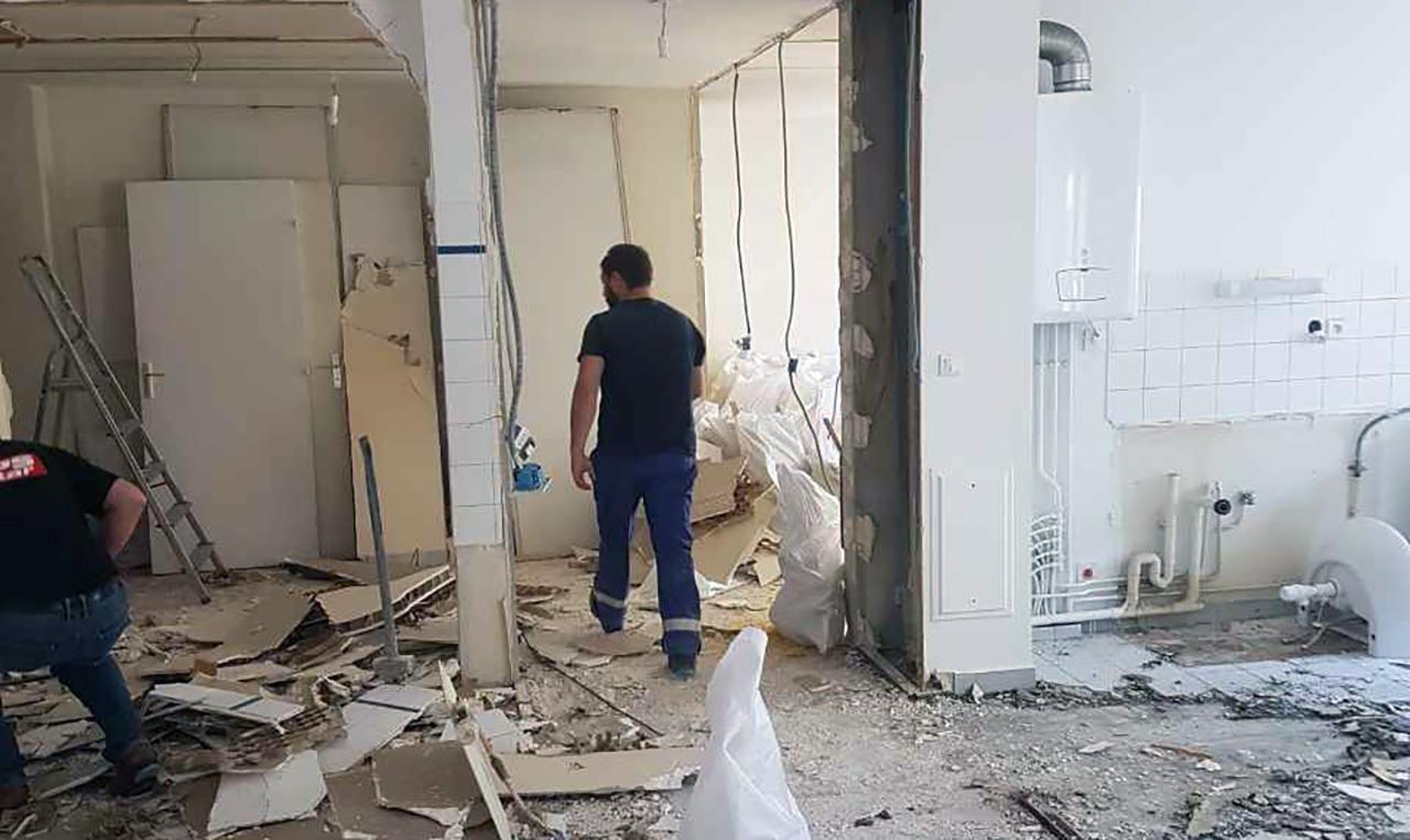 Demolition et debarras des gravats dans un appart parisien